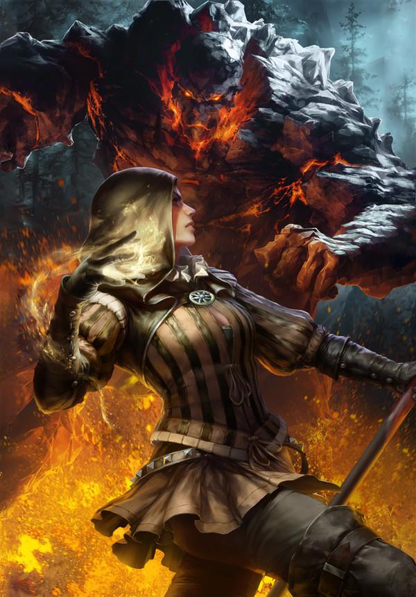 Чародейка и большой голем Ведьмак, Ведьмак 2, Цинтия, Голем