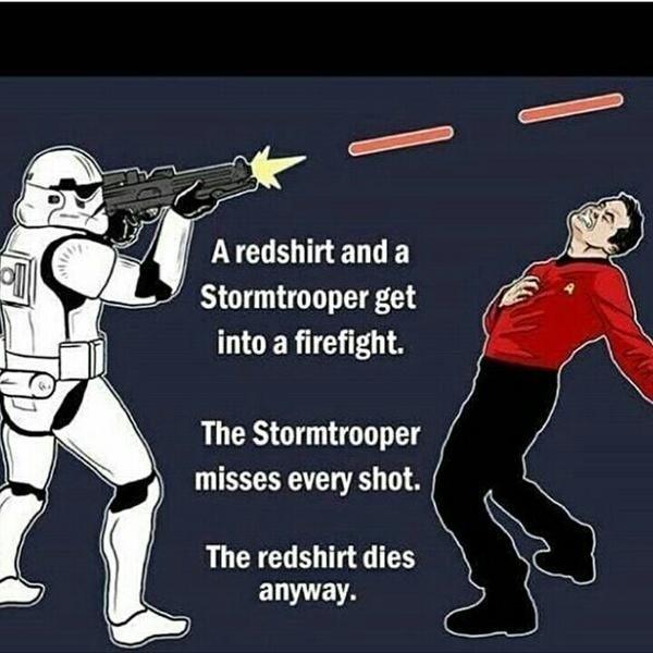 Столкновение синдрома штурмовика и правила красной рубашки star wars, смешное, Star trek