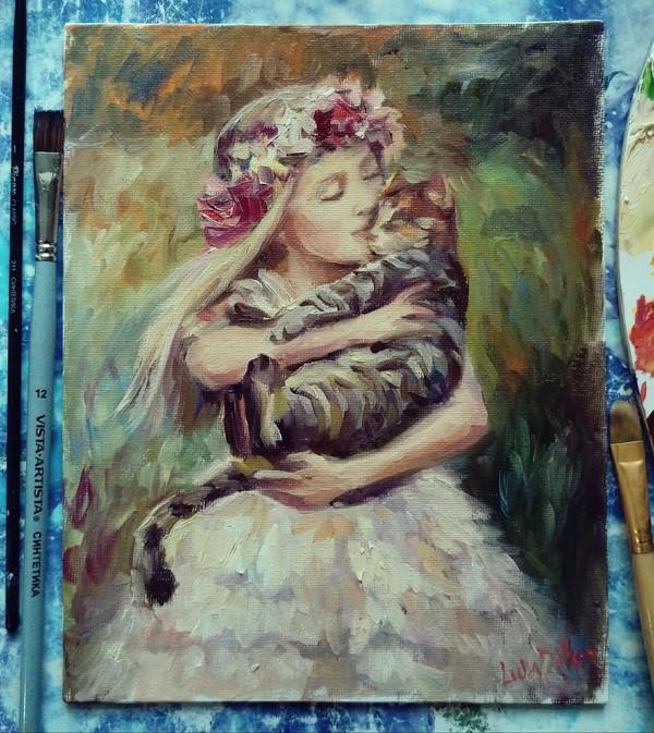 Девочка и Кот масло, импрессионизм