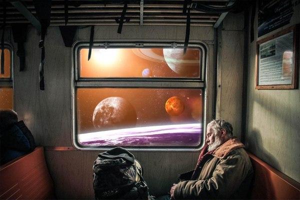 """Следующая станция """"Млечный Путь"""" арт, Картинки, космос, длиннопост, поездка, поезд, вселенная, Подборка"""