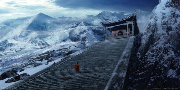 Путь в буддийский храм храм, буддисты, арт, ступеньки
