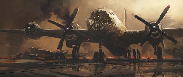 После тяжёлого вылета самолет, вторая мировая война, арт, рисунок, огонь, дым
