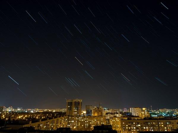 Ясное небо Краснодара звездное небо, Краснодар, olympus, звездные треки, ночной город