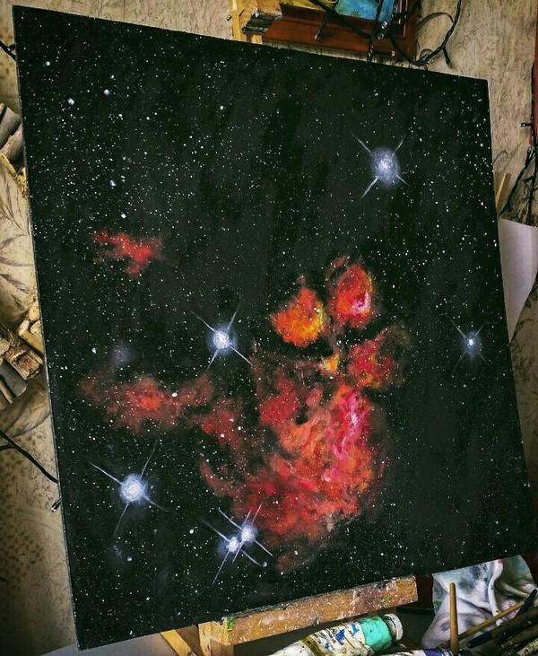 Картина с Туманностью Кошачья Лапка (NGS 6334) :3 Katie Shapo, Nebula, туманность, картина маслом, кошачья лапка, кот, космос, вселенная