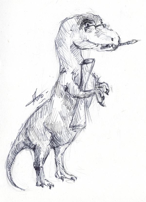 Пятнадцатиминутное.Динозавр — начинающий художник.