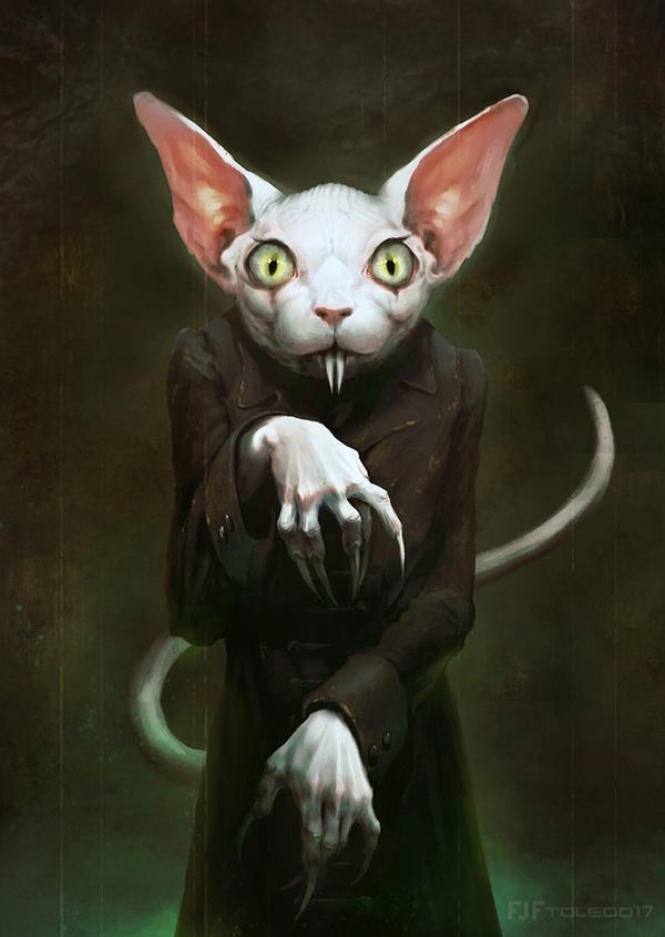 Vamp cat арт, фэнтези, вампиры, кот, котовампир, носферату, Картинки, DTPA
