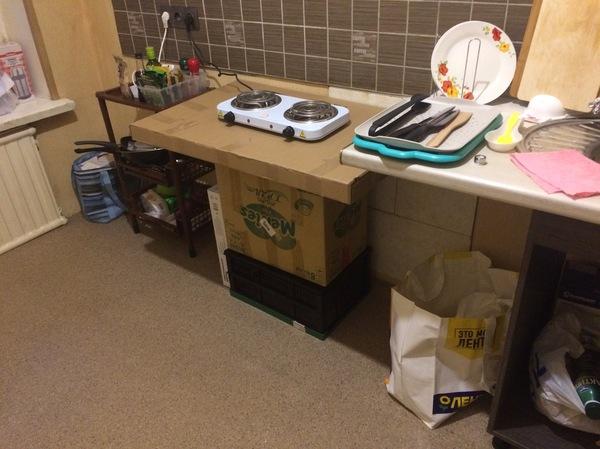 Когда очень хочется стол на кухню, а денег нет. стол, своими руками, кухня, коробка, картон, крафт, пожарная безопасность