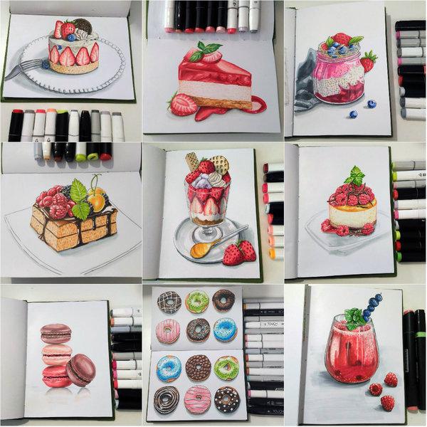 Рисунки маркерами  (Сладости) маркер, рисунок маркером, рисунок, спиртовые маркеры, сладости, длиннопост