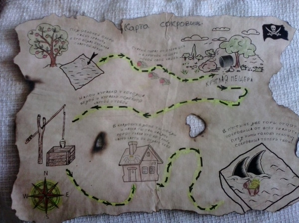 Карта сокровищ день рождения, пираты, тематическая вечерика, детям, карта сокровищ, длиннопост
