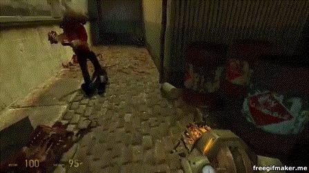 Забавная фича в hl2 Half-Life 2, Мяч, Игры, Не ходите в Рейвенхольм, Гифка
