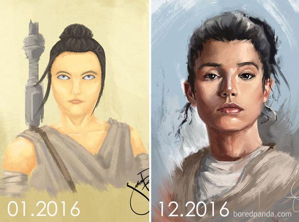 Совершенствуй. Примеры повторения свох рисунков спустя годы Прогресс, Спустя годы, Практика, Длиннопост