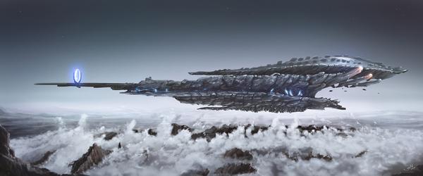 The Alien Ship арт, Космический корабль, цифровой рисунок, иллюстрации, Видео, Sci-Fi