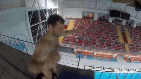 Батут на вышке 10 метров. Обзор. прыжки в воду, youtube, видео, обзор, экстрим, спорт, батут, гифка, длиннопост