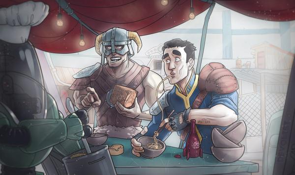 Дувакин нашел странное поселение Двемеров (или я снова рисую кроссоверы) skyrim, fallout, RPG, fallout 4, The Elder Scrolls V: Skyrim, devolist