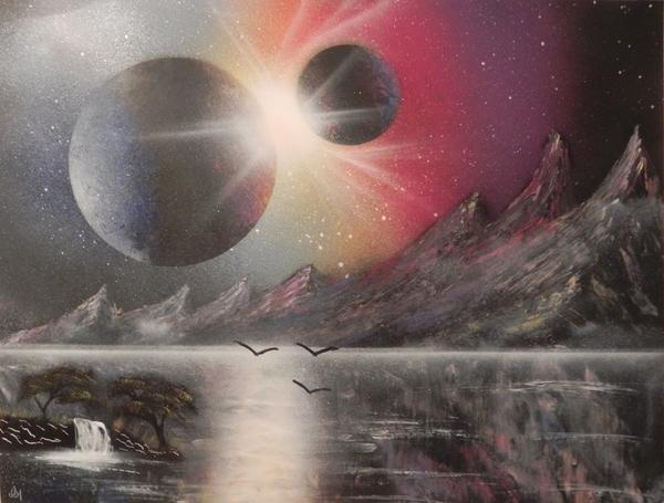 Первый Spray paint за долгое время! SprayPaint, spacepainting, Каритна, арт, планета, горы, рисование