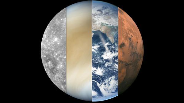 Сравнение вида четырех внутренних планет Солнечной системы Меркурий, Венера, Марс, Земля, космос