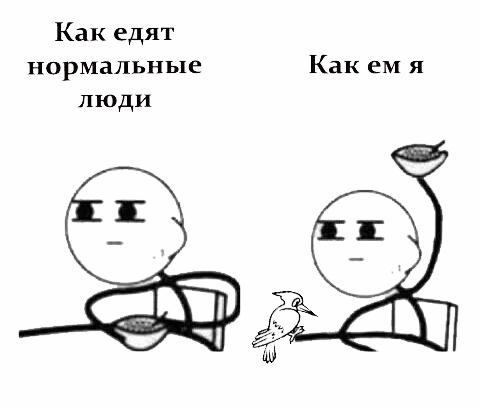 Как едят нормальные люди, как ем я... длиннопост, дятел, Дятел Борис, суровые будни, Шкафсмолью
