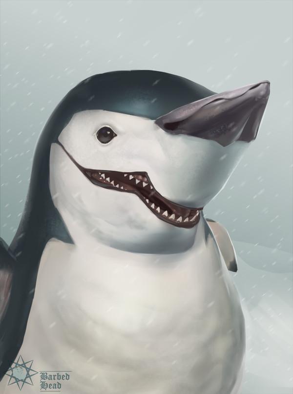 Зарисовал одну из этих акул, мимикрирующих под пингвинов пингвины, акула, рисунок, перерисовка, цифровой рисунок