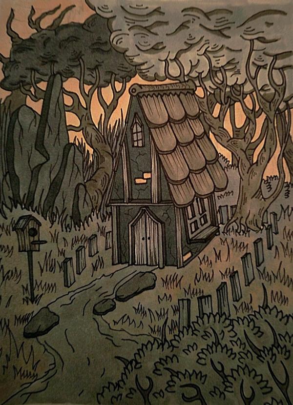 Мрачный уют Моё, Рисунок, Маркер, Линер, Домик в лесу