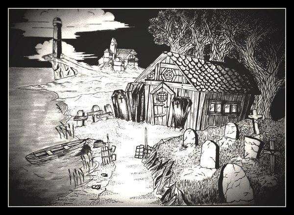 Домик могильщика дом, кладбище, рисунок, маркер, линер