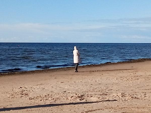 Лето. Море. Пуховик. лето, море, пуховик, Рига, Латвия, взморье, пляж