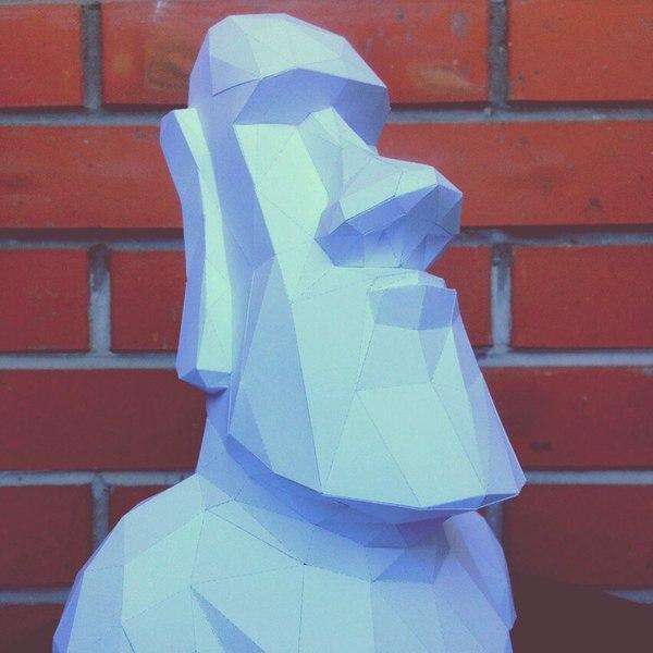 Каменный истукан с Острова Пасхи Papercraft, Pepakura, Low poly, Бумага, Изделия из бумаги, Бумажный моделизм, Длиннопост