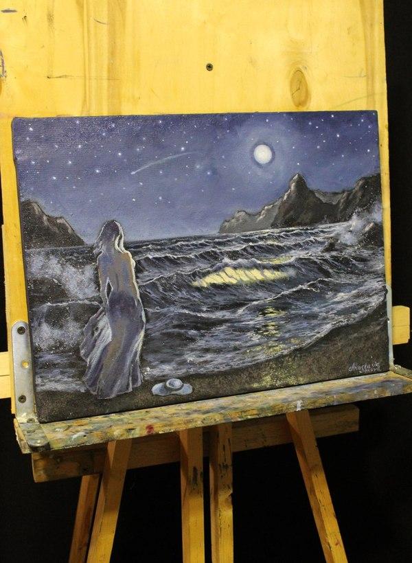 Южная ночь картина, масло, холст, звездная ночь, море