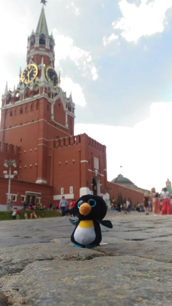 Пингви отправляется в путешествие. пингвины, мягкая игрушка, Москва, красная площадь, спасская башня, фотография, отпуск, путешествия