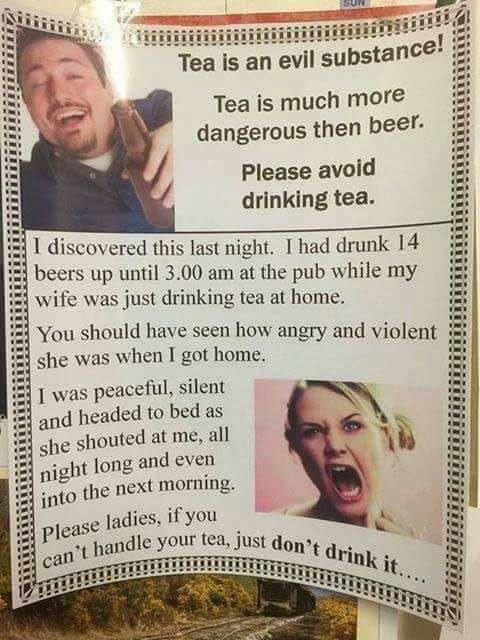 Чай - злобная субстанция! чай, пиво, Опасные продукты