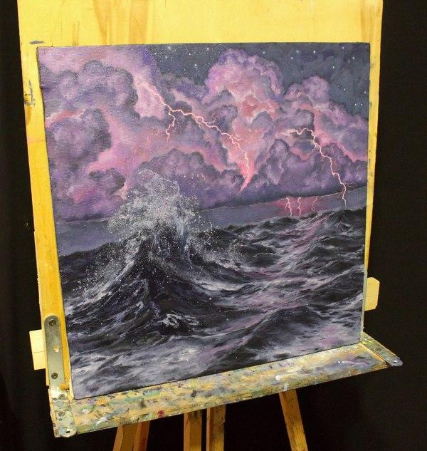 Ночной шторм картина, картина маслом, море, ночь, Шторм, гроза
