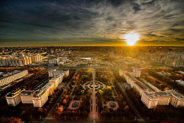 Вид на корпуса МГУ Москва, Россия, МГУ, фотография, высота