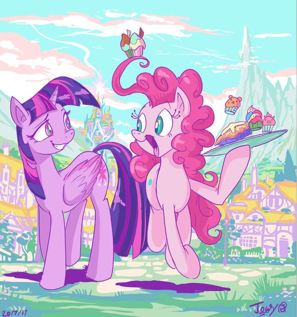 Passing cake my little pony, Twilight Sparkle, Pinkie Pie