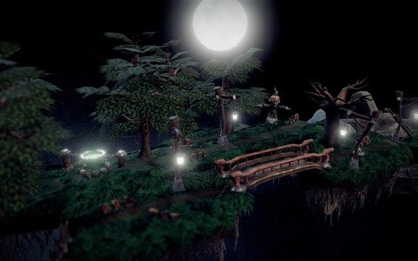 3д сценки. Ночь, Мир, Village, Деревня, 3D, Level, Blender