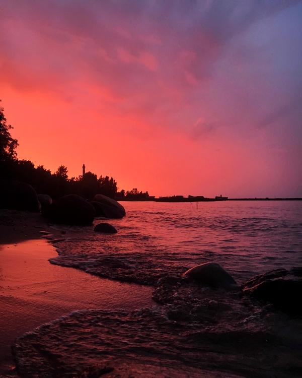 Ладожское озеро Озеро, Природа, Закат, Ленинградская область