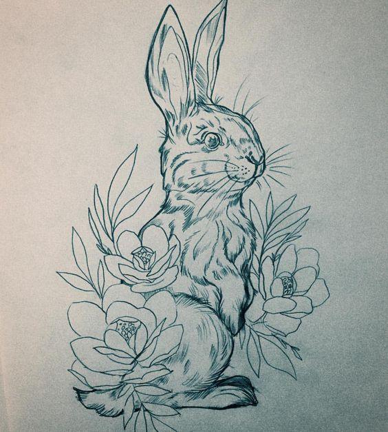 Заячья подборка эскизов тату, длиннопост, заяц, лига любителей татуировки, эскиз