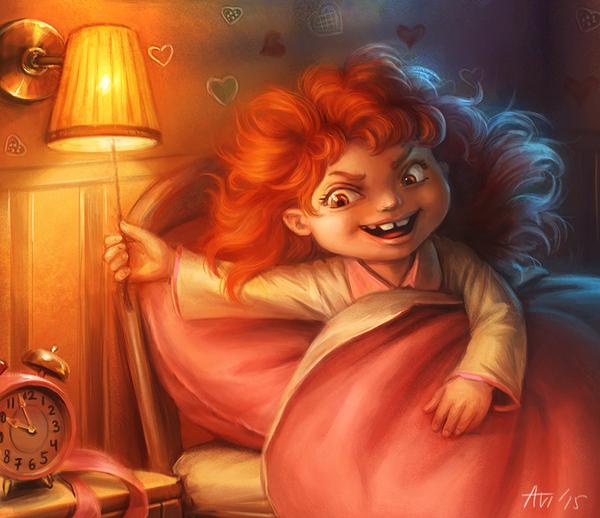 Тяжёлые будни подкроватных монстров =) спокойной ночи, девочка, монстр, арт, компьютерная графика, длиннопост