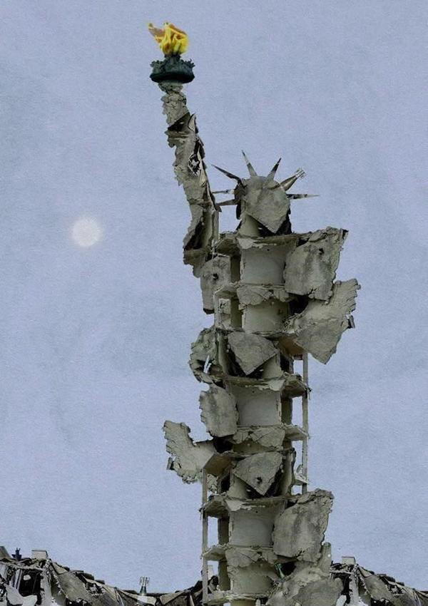 Статуя Свободы, созданная из разбомбленного здания в Алеппо Сирия, Картина, Photoshop, Бомбардировка, США, Статуя Свободы, Алеппо
