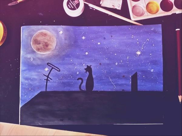 Кошечка на крыше. рисунок красками, Чёрная кошка, ночь, звездное небо