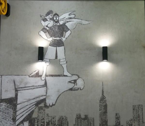 Эволюция супермена Супермен, богатырь, Нью-Йорк, граффити, рисунок, Москва, торговый центр, длиннопост