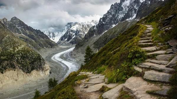 Тропы, ледник Мер-де-Глас, Альпы.