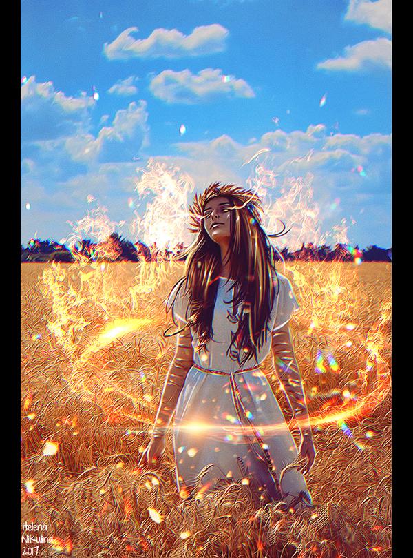 Lady Midday. арт, Елена Никулина, женщина, полуденница, лето, огонь, жара, славянская мифология