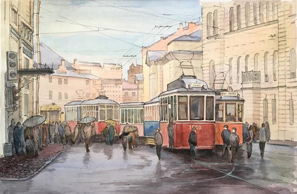 Трамваи на улице Инженерная Живопись, графика, акварель, Санкт-Петербург, чет солнечно