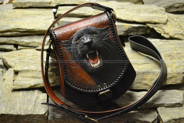 Подарок жене. ручная работа, сумка, пантера, тиснение, натуральная кожа, кот, подарок, длиннопост