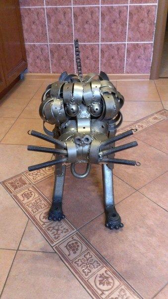 Собаки железяки. Ресайкл-арт. Собака, монстр, собака и кошка, кот, железяка, Робот, ресайкл арт, рукоделие без процесса, видео, длиннопост