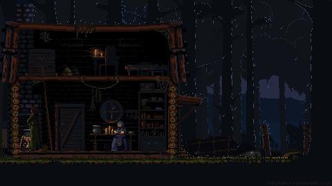 Дом ведьмы Pixel Art, Фэнтези, Гифка, Анимация, Моё, Coub