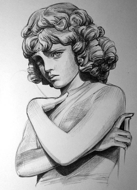 Набросок скульптуры чёрной ручкой. Ангел без крыльев...