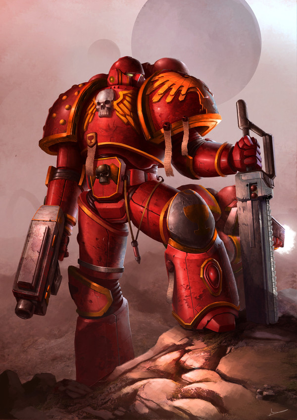 Blood Angel Warhammer 40k, wh art, blood angels, фан-арт, космодесант