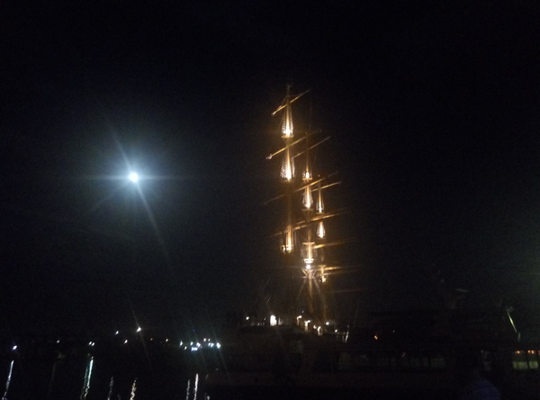 Ночь. Севастополь. Парусник, Луна, Севастополь
