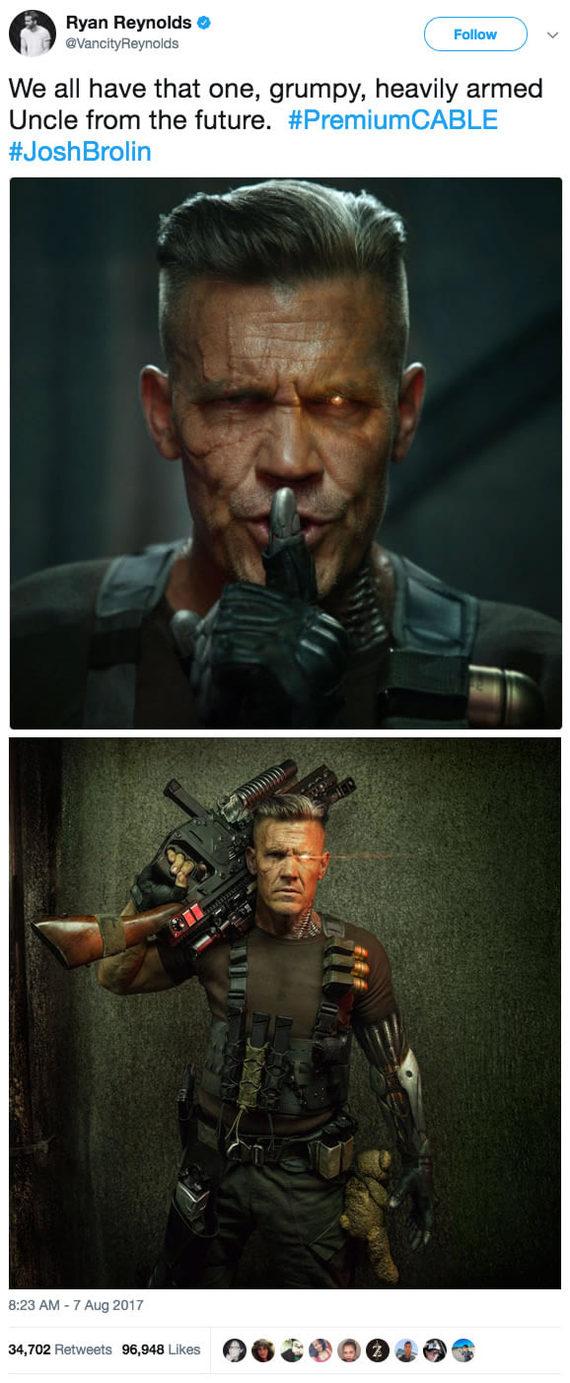 Райан Рейнольдс выложил фото Кейбла из грядущего продолжения Дедпула Райан Рейнольдс, Кейбл, Deadpool, Twitter