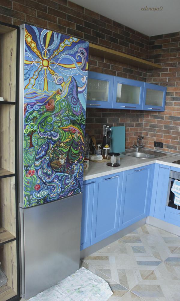 Холодильник холодильник, акрил, пейзаж, арт, Природа, роспись, своими руками, длиннопост